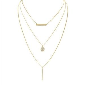 Jewelry - Triple Layered Bar & Disc Necklace